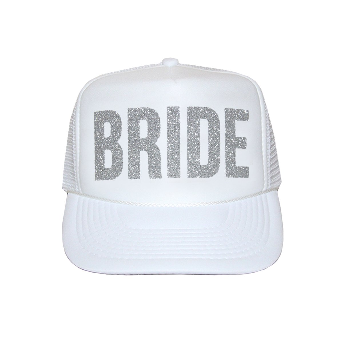 abc9a04f5d3 Bride Trucker Hat by Classy Bride (White and Aqua Glitter) at Amazon  Women s Clothing store