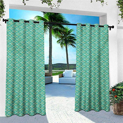 leinuoyi Modern, Outdoor Curtain Set, Geometrical Line Art Waves Oval Shapes Optical Illusion Pattern, Outdoor Privacy Porch Curtains W108 x L108 Inch Turquoise Cream Pale -
