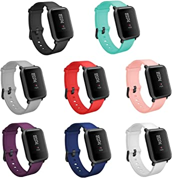 TECKMICO 8PCS Bands Replacement for Amazfit Bip Smartwatch,20mm Quick Release Watch Soft Silicone Bands for Amazfit Bip Band Women Men