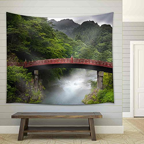 Red Sacred Bridge Shinkyo in Nikko Japan and a Mist Rising from The River Fabric Wall