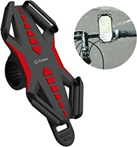 Cellet Bike Phone Mount, Bicycle Holder Mount Compatible for Apple iPhone Xs/Max/Xr/X/8/8 Plus Samsung Note 9/8/5 Galaxy S9/Plus/S8/Plus/S7 Motorola Z3 Play/Moto G6/X4/Z2 Force/Z2 Play/Z Droid Red