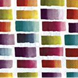 Entertaining with Caspari Color Blocks Paper Cocktail Napkins, Ivory, Pack of 20