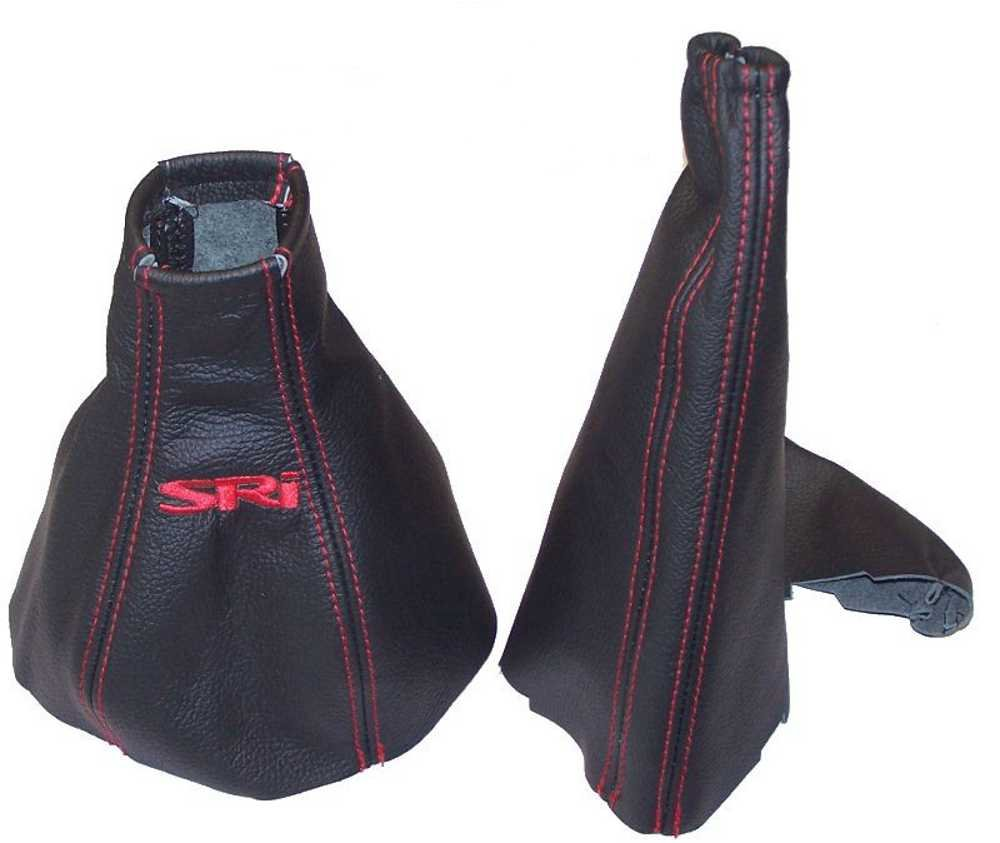 Gear Handbrake Gaiter Black Leather Red Stitching Embroidery SRI The Tuning-Shop Ltd