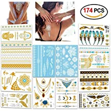 Metallic Flash Tattoos,Konsait 174 Designs - Jewelry Bling Temporary Tattoos & Body Art Indian Tattoos White Lace Tattoo Gold Silver Holiday Gift Present-12 Sheets