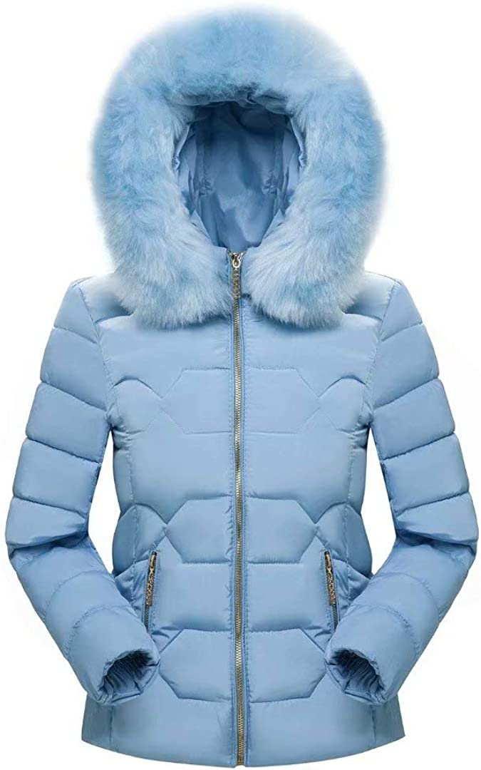 Laipelar Womens Down Coat with Fur Hood Winter Warm Down Parka Puffer Jacket