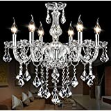 "SUN-E Maple Leaf Shape K9 Crystal Candle Chandeliers Lighting 6Lights Bathroom Pendant Ceiling Lights Fixture Lamp for Dining Living Room Bedroom Hallway Entry D23.6"" X L47.2""(Detailed Instructions)"