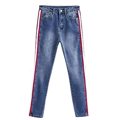 Amazon.com: XUANOU - Pantalón de mujer con rayas laterales y ...