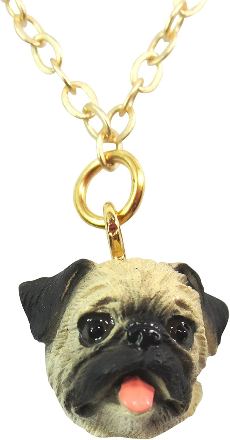 Dolls Unlimited Omaha I Love My Pug Brown Pug Charm Necklace