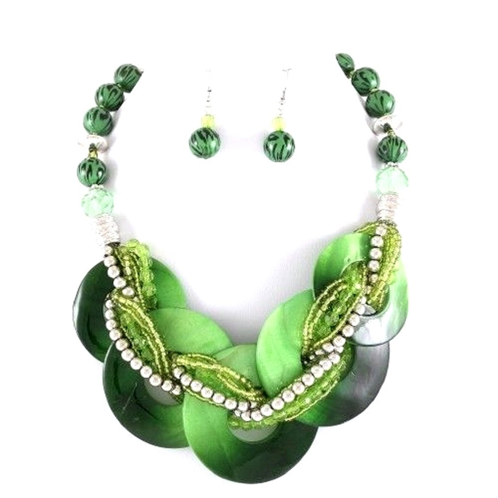 Uniklook, Fashion Jewelry Chunky Statement Green Abalone Shell Braided Strand Silver beads Necklace Earrings Set Jewelry
