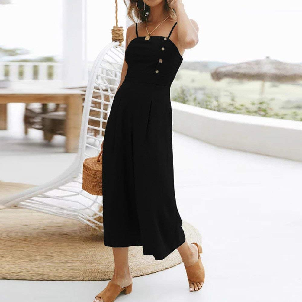 GWshop Ladies Fashion Elegant Jumpsuit Women Jumpsuits Elegant Wide Leg Sleeveless High Waisted Summer Pants Black M by GWshop (Image #3)