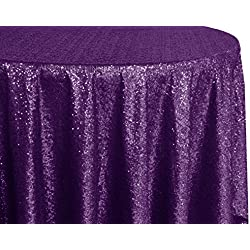"Wedding Linens Inc. 120"" Round Sequin Taffeta Tablecloths Table Cover Linens for Restaurant Kitchen Dining Wedding Party Banquet Events - Eggplant / Dark Purple"