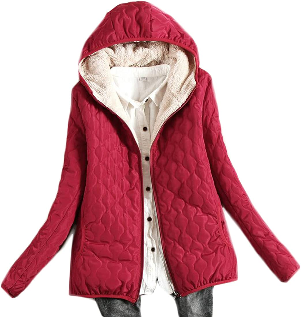 Cruiize Womens Warm Outdoor Hooded Parka Coat Wool Lined Quilted Jacket Wine Red XL