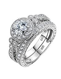 Newshe Vintage Bridal Round White AAA Cz 925 Sterling Silver Wedding Engagement Ring Set Size 5-10