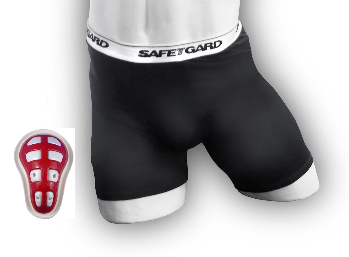 SafeTGard Boys Youth Regular Sliding Short with Youth Cage Cup (Black Short) by Safe-T-Gard