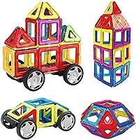 INTEY -【Mini Piezas Bloques De Construcción Magnéticos,Juguetes Construcciones para Niños Construir Una Casa, Un Coche, Torre, Ruedas Grandes