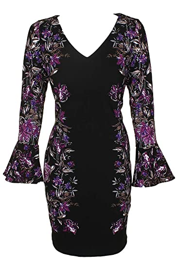 7ef6efae8350 INC Womens Floral Print V-Neck Cocktail Dress Black XL at Amazon Women's  Clothing store: