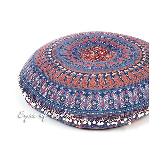 Eyes of India - 32'' Blue Floor Pillow Cushion Seating Throw Cover Mandala Hippie Round Colorful Decorative Bohemian boho dog bed IndianCover Only by Eyes of India