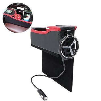 Pawaca Caja de almacenamiento profesional de piel para asiento de coche, diseño multifuncional, con portavasos, caja de almacenamiento para monedas, ...