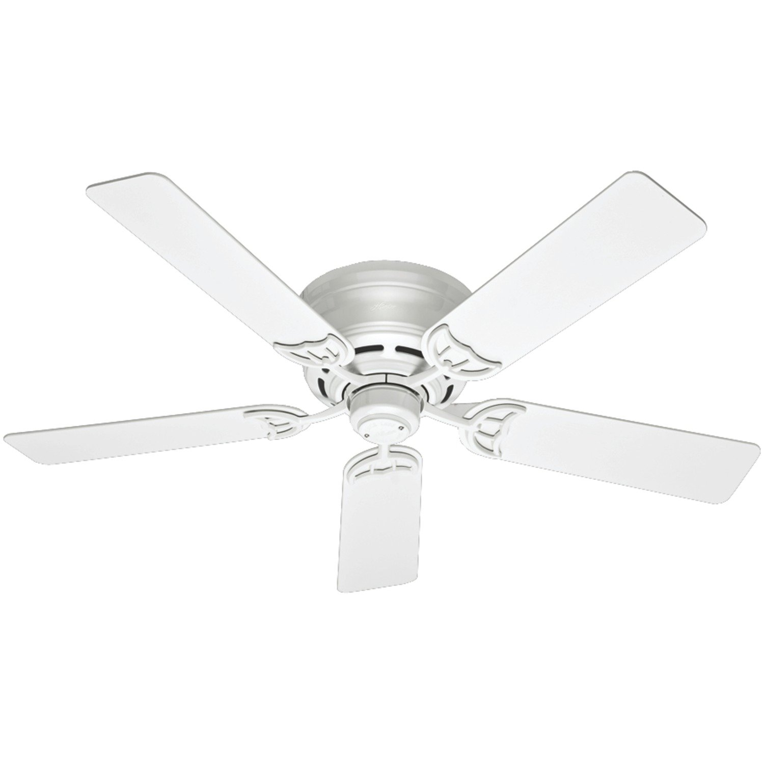 Hunter 53069 Low Profile III 52-Inch Ceiling Fan with Five White Blades, White