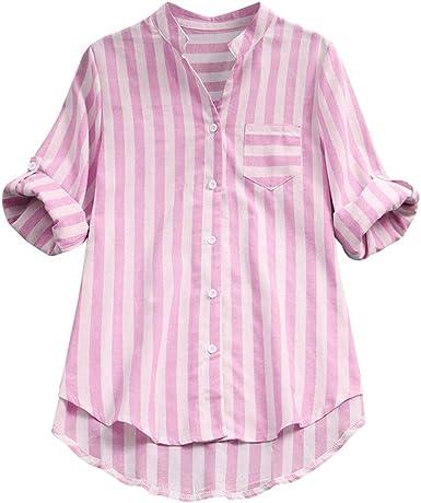 Yvelands Camisa de Manga Larga a Rayas para Mujer Camisa de Blusa ...