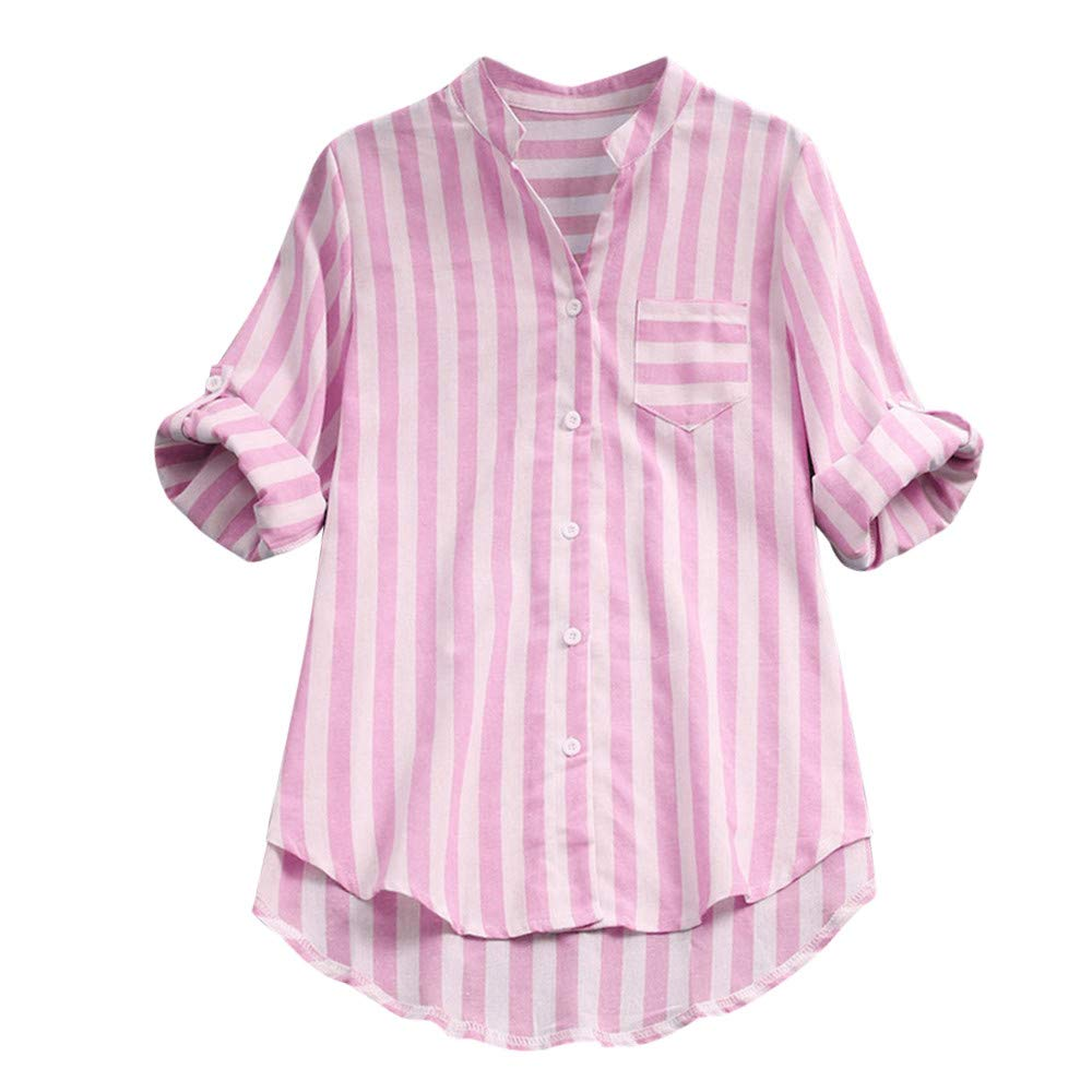 Yvelands Camisa de Manga Larga a Rayas para Mujer Camisa de Blusa Suelta Casual Tops Camisa de Lino de algodón para Mujer.: Amazon.es: Ropa y accesorios
