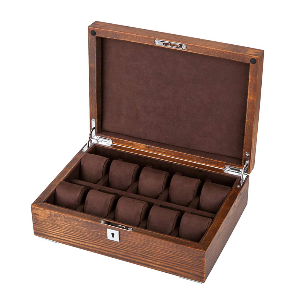 HJYSQX Old elm Solid Wood Watch Box with Lock, Watch Box Organizer for Men Mechanical Watch Display Collection Storage Box -Brown 10x22x32cm(4x9x13)