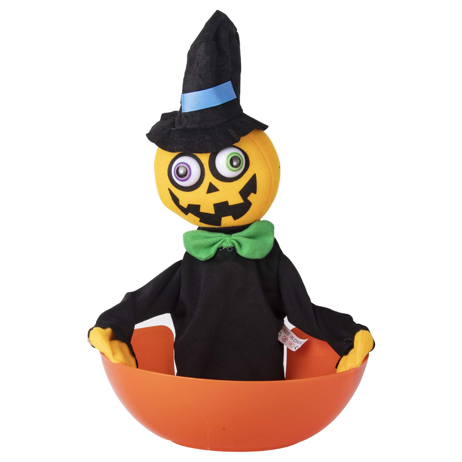 KI Store Halloween Candy Bowl Motion Activated Animated Talking Candy Bowls Halloween Decorations for Treat or Trick (Pumpkin)