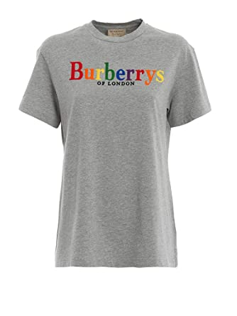 d1209a78fb BURBERRY Clumber Flocked Logo S S Tee in Pale Grey Melange at Amazon  Women s Clothing store