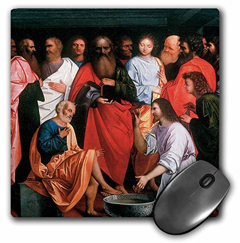 3dRose BLN Christian and Biblical Fine Art Collection - Washing of the Apostles' Feet by Giovanni Agostino Da Lodi - MousePad (mp_130074_1)