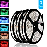 LED Strip Light, IWISHLIGHT 3 Pack 49.2Ft/15M Light Strip SMD 5050 Waterproof Flexible RGB Strip Lights,IP67 Waterproof RGB LED Light Strips for Home Kitchen Car Bar, Power Adapter not Included