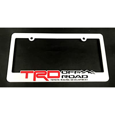 Xitek 3D Emblem SR5 TRD Off Road Racing Development License Plate Holder Frame Cover for Tundra Tacoma 4 Runner Land FJ Cruiser (1 White): Automotive