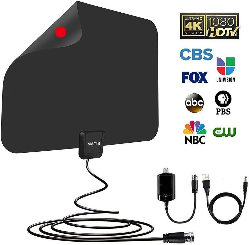 Antena de TV – Antena de TV digital HD amplificada para interiores con largo rango de 60 – 80 millas, compatible con 4 K 1080P HD VHF UHF y todos los televisores