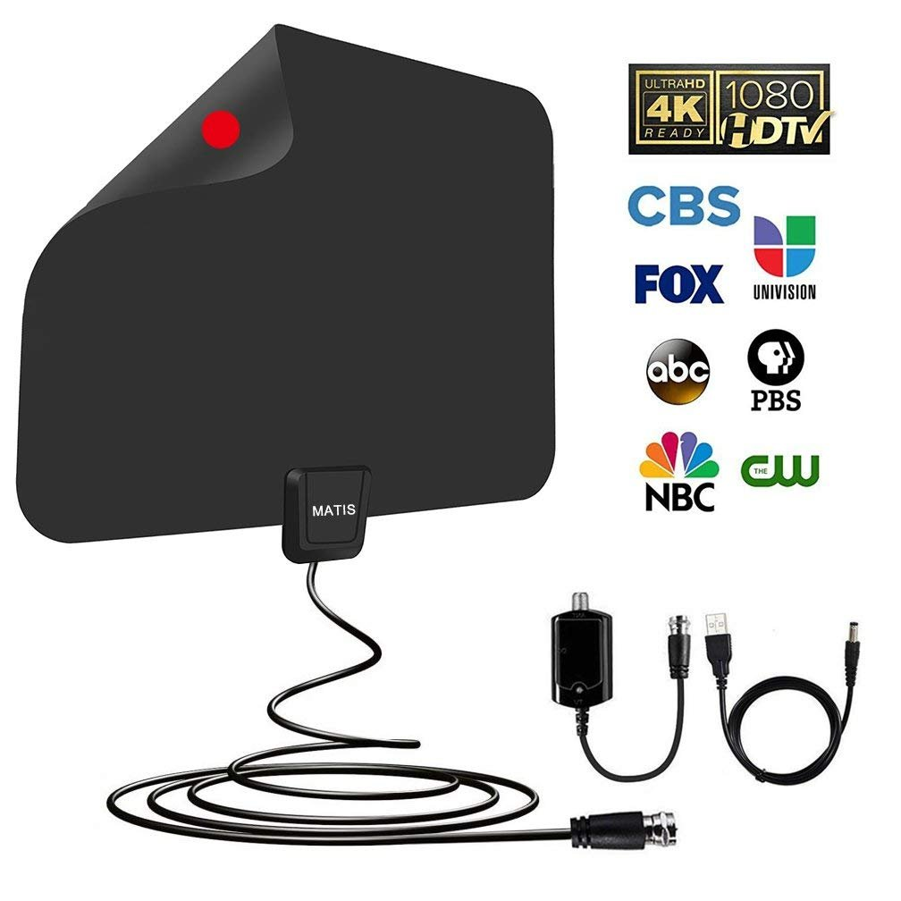 TV antenna - Amplified HD Digital TV Antenna with Long 60-80 Miles Range,Support 4K 1080P HD VHF UHF & All TVs for Indoor with Detachable Amplifier Signal Booster and 13.5ft Coaxial Cable …