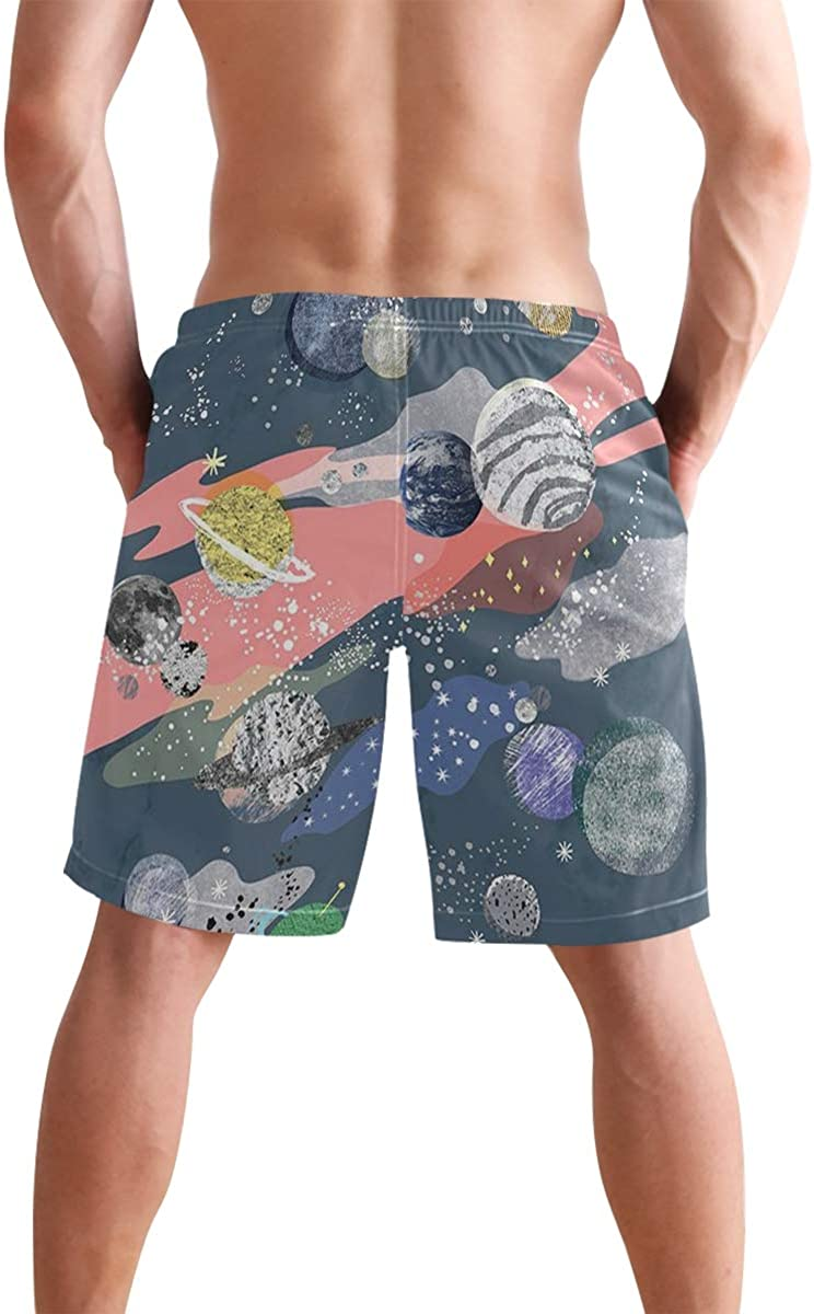 YINGWANG Mens Tie Dye Print Quick Dry Summer Beach Surfing Board Shorts Swim Trunks Cargo Shorts