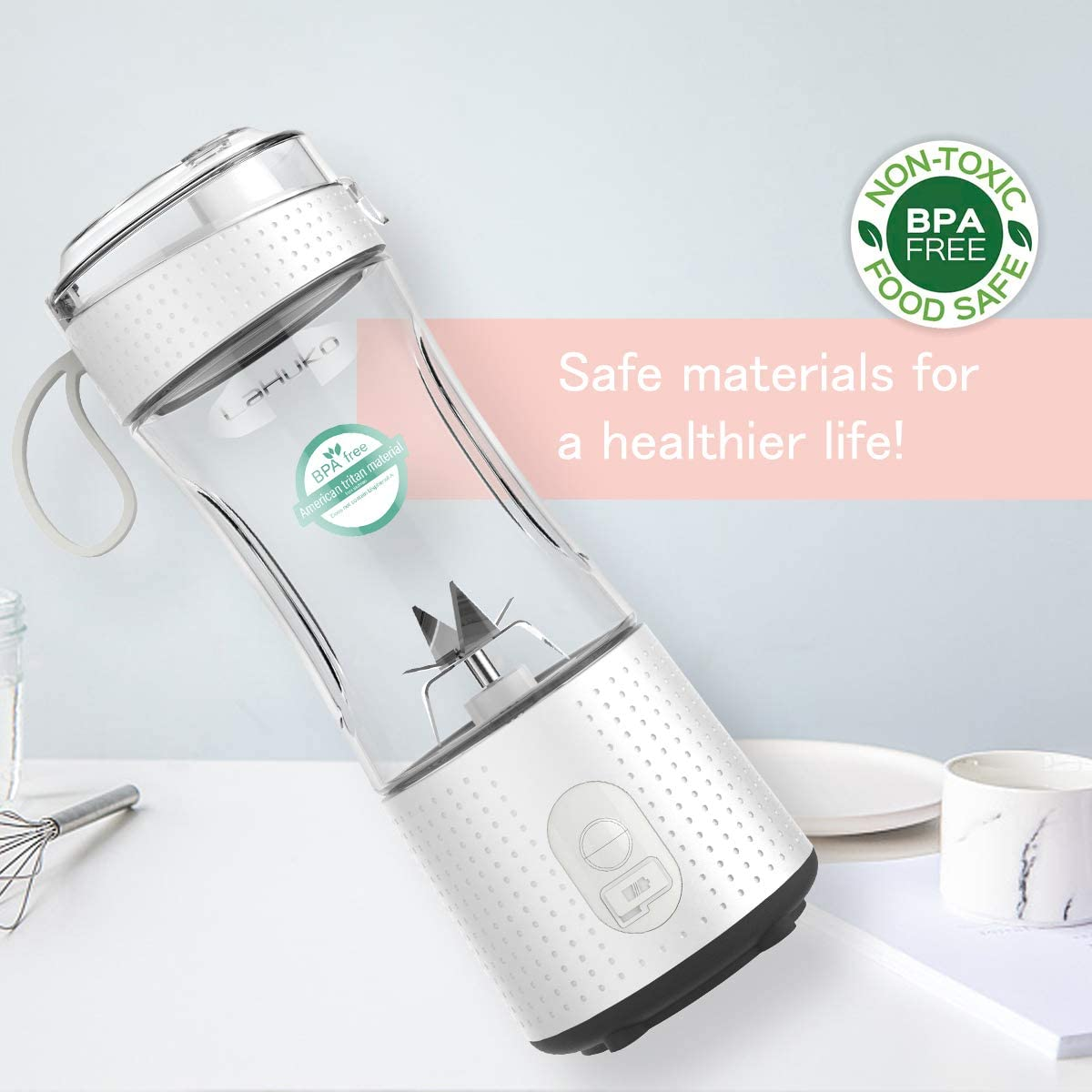 LaHuko Blender Portable Blender Personal Size Blender Juicer Cup for Juice Crushed-ice Smoothie Shake with Six Blades, 4000mAh USB Rechargeable, Blender for Outdoor Picnic Travel Gym: Kitchen & Dining