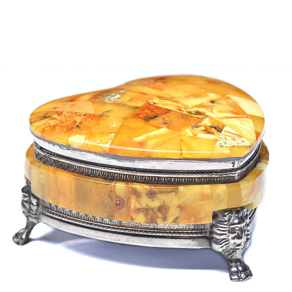 Jewelry Box - Heart Shape Jewelry Box - Amber Jewelry Box - Vintage Amber Jewelry Box - Vintage Jewelry Box - Baltic Amer by Genuine Amber