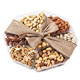 Nutty New Yorker Gourmet Food Nuts Gift Basket, 7 Different Nuts Including Macadamia Nuts – 19.8 Ounces – Kosher Certified