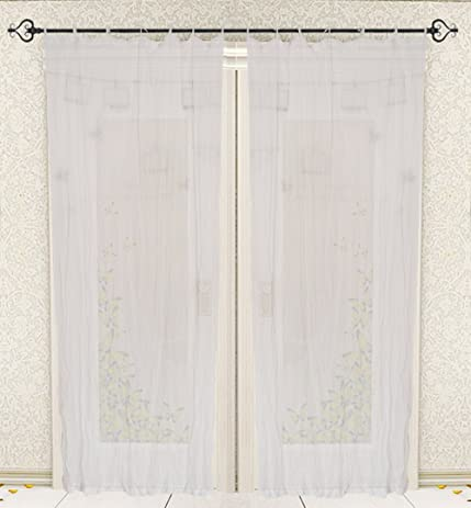 Tie Top Cotton Voile Curtain For Windows And Door Home Furnishings 42X84  INCH