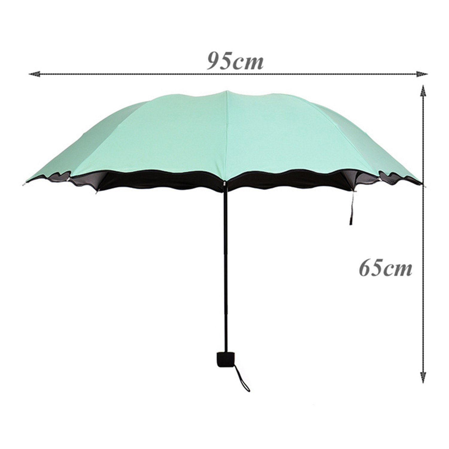 Amazon.com : Madehappy Fashion Cheap Lady Sun Umbrella Three Folding Umbrella 8 Rib Wind Resistant Frame Manual Anti-UV Umbrella Blue : Sports & Outdoors