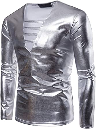 Manga Corta Gildingr de los Hombres Camisas Sexy con Cuello en v Manga Larga Jersey Regular fit Camisa del Club Nocturno del Partido S-XXL para Traje de Fiesta Playera Playera: Amazon.es: Hogar