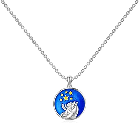 ROMANTIC WORK The Little Prince with Fox Necklace for Women Sterling Silver Animal Woodland Friend Pendant Chain Fox Jewelry Gift for Animal Lovers Teen Girls