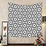 Gzhihine Custom tapestry Arabesque Tapestry Authentic Moroccan Islamic Old Motif with Oriental Effects Middle Eastern Print for Bedroom Living Room Dorm Black White