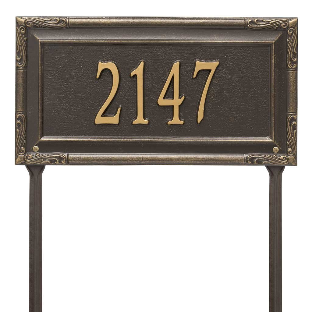 Personalized Cast Metal Address plaque displays your house address number - Lawn mount - stakes included - # P2832l1 Comfort House Custom House Number Sign by Comfort House