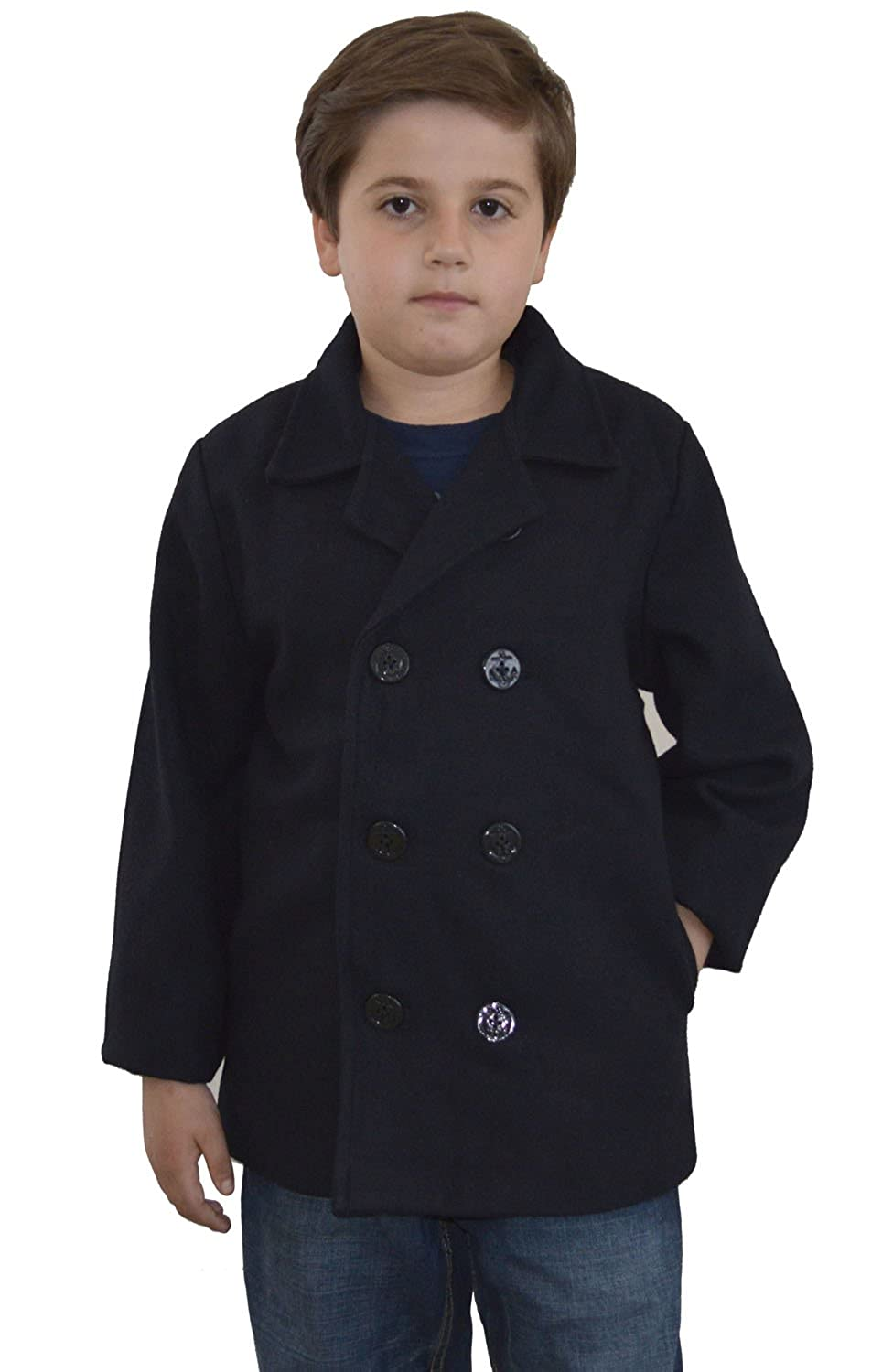 Amazon.com: Johnnie Lene Kids Navy Blue Wool Peacoat Jacket ...