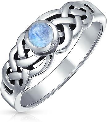 Keltische Trinity Knoten Triquetra Regenbogen Mondstein Ring