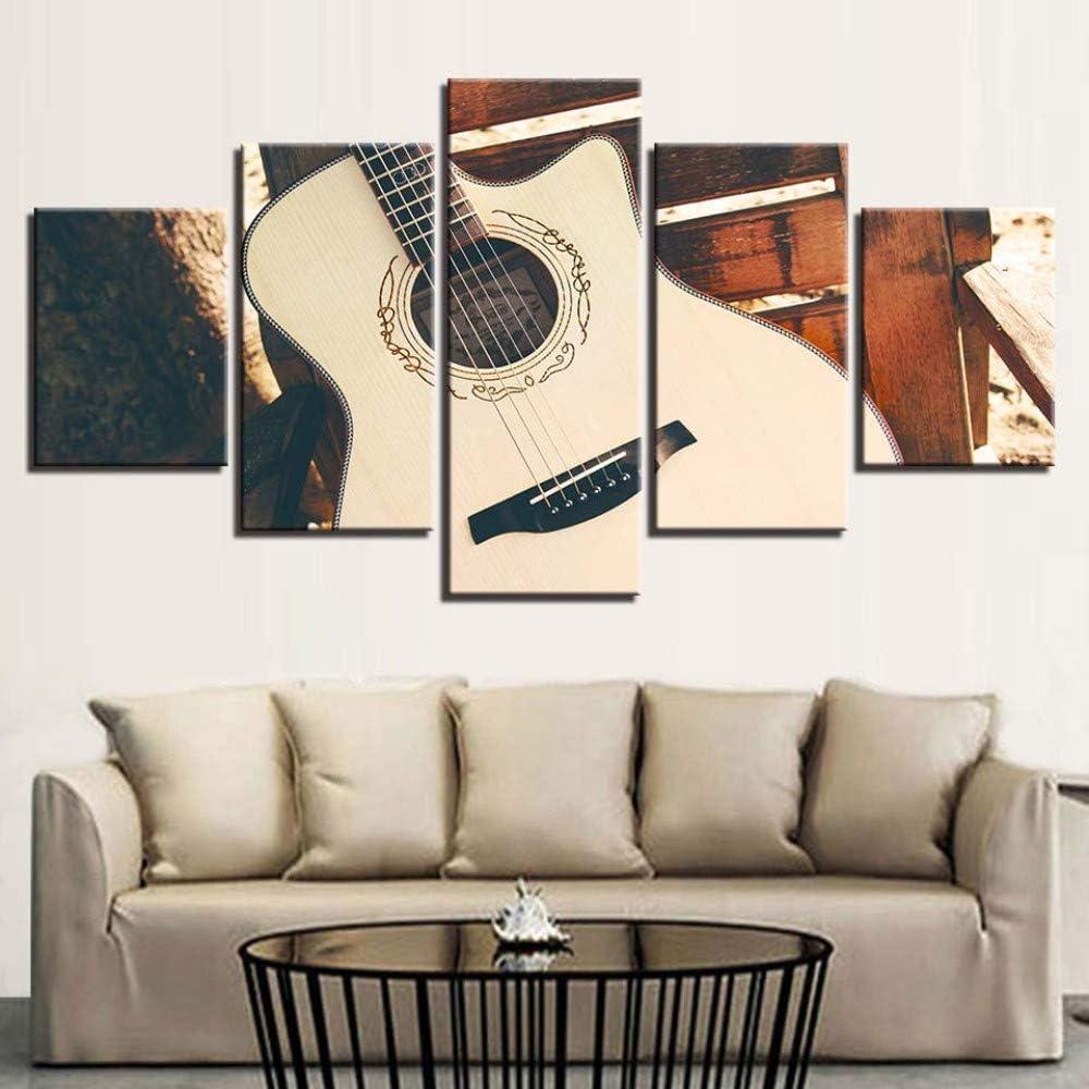 ZHAS Cuerdas de Guitarra acústica Vintage Pintura de Cinco Piezas Art Deco Painting, 20X35Cmx2 20X55Cmx1 20X45Cmx2