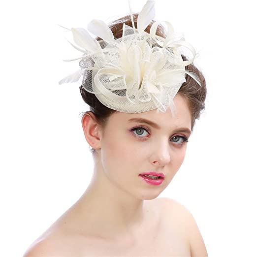 9422a4600ec96 Amiley Fascinaor Hair Fascinators Hat Flower Mesh Ribbons Feathers on a  Headband and a Clip Tea