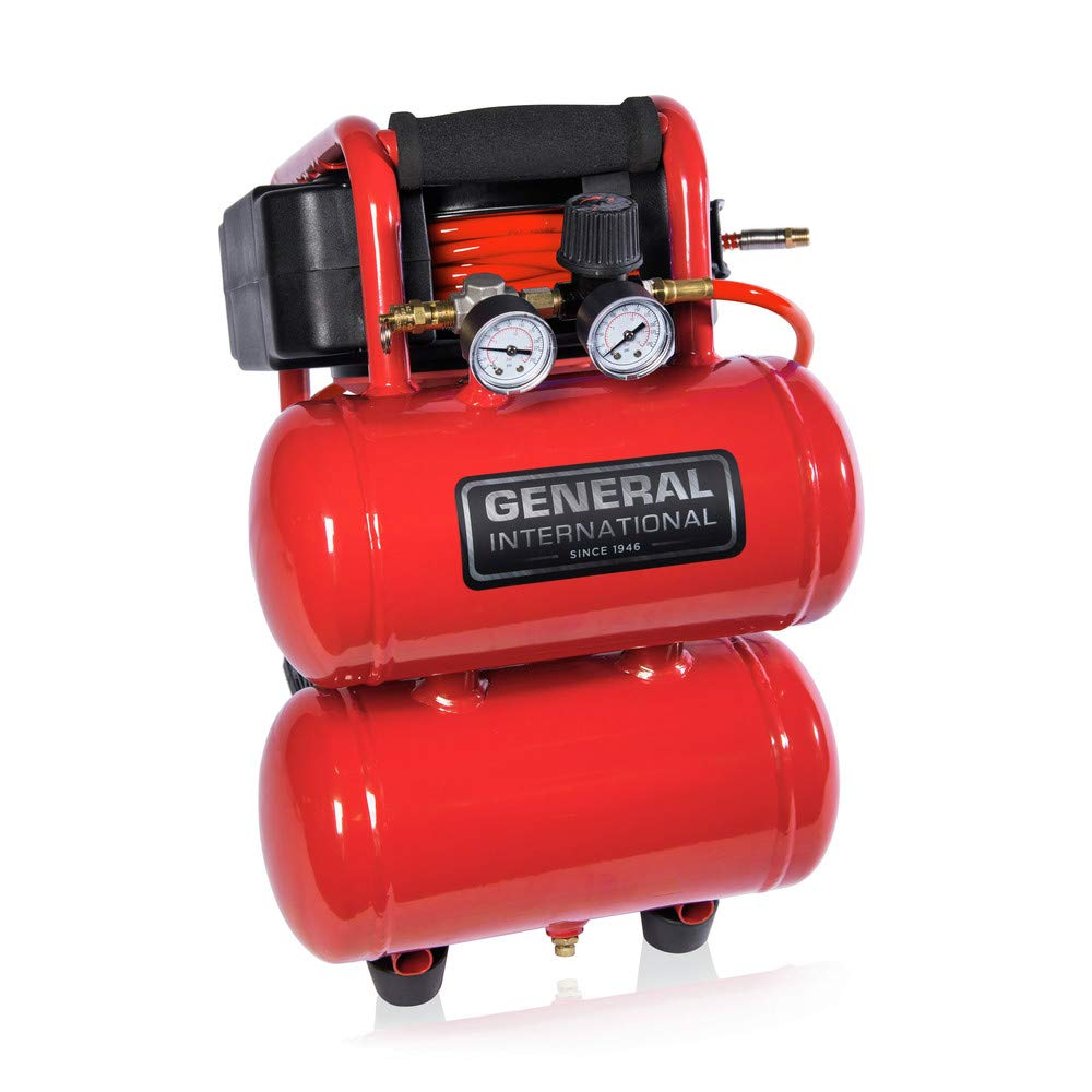 General International AC1212 1/3 HP Portable Electric Twin Stack Air Compressor with 25' Auto Rewind Hose Reel, 2 gallon, Red/Black/Grey