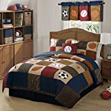 Boys Beige Blue Classic Sports Theme Quilt Twin 2 Piece Set, Stylish Kids Checkered Stripe Sport Bedding, Baseball, Basketball, Soccer Ball, Football Team Printed Pattern, Rich Vintage Colors