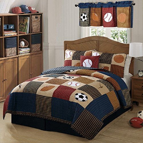 Boys Beige Blue Classic Sports Theme Quilt Twin 2 Piece Set, Stylish Kids Checkered Stripe Sport Bedding, Baseball, Basketball, Soccer Ball, Football Team Printed Pattern, Rich Vintage Colors by SE